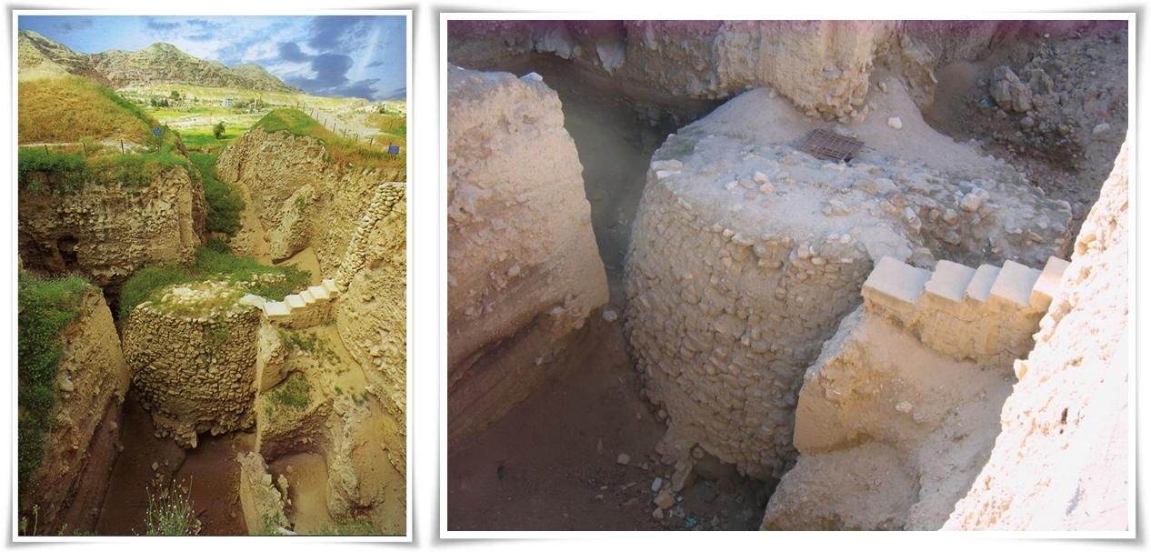 Кулата от 8000 г. пр.н.е. в Йерихон на мястото на Тел ес-Султан- колаж