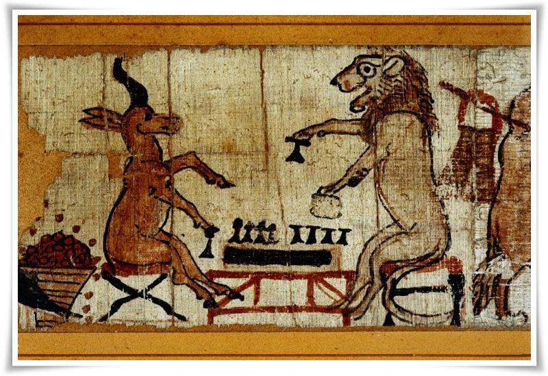 Лъв и газела играят Сенет, фрагмент от сатиричния папирус от периода Рамесиди (ок. 1150 г. пр.н.е.)