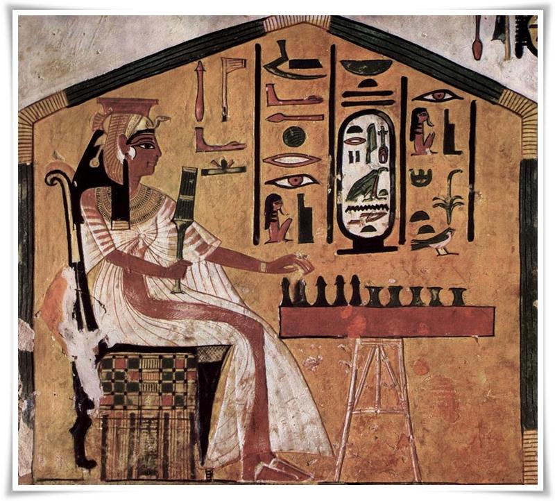 Нефертари играе Сенет Рисунка в гробницата на Нефертари (1295-1255 пр.н.е.)