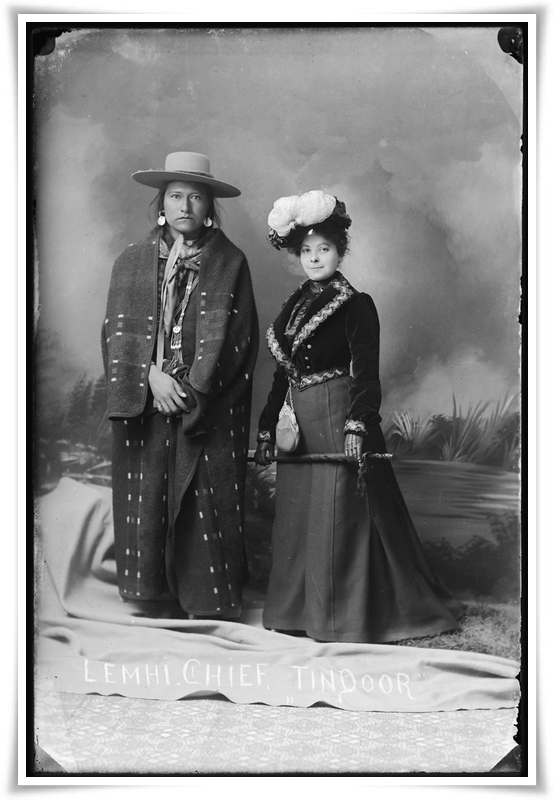 Tindoor, chief of the Lemhi Shoshone and his wife, Idaho, ca. 1897, photograph by Benedicte Wrensted