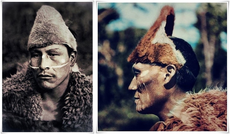 Selknam man named Toin, photogrephed dy Martin Gusinde, 1923 - post-horz